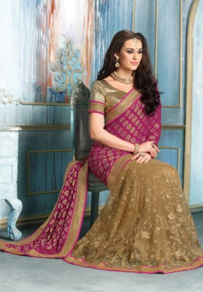 Diffusion Exotic Brown And Pink Embroidered Saree