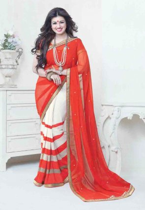 Diffusion Exotic Buttercream And Red Embroidered Saree