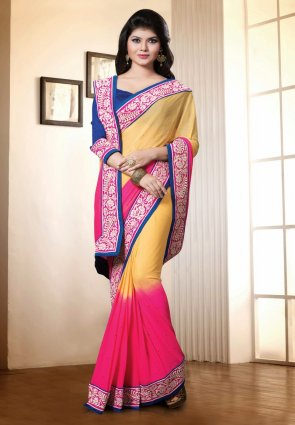 Diffusion Exotic Cream And Pink Embroidered Saree