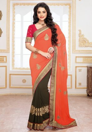 Diffusion Exotic Deep Gray And Tomato Embroidered Saree