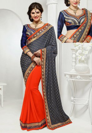 Diffusion Exotic Deep Orange And Gray Embroidered Saree