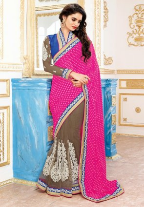 Diffusion Exotic Deep Sandy Brown And Pink Embroidered Saree