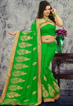 Diffusion Exotic Green Embroidered Saree