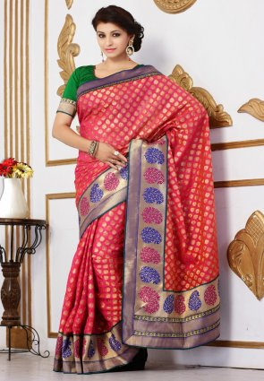 Diffusion Exotic Pink Embroidered Saree