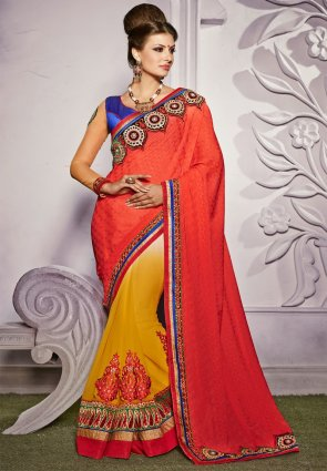 Diffusion Exotic Red  And  Yellow Embroidered Saree