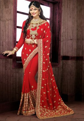 Diffusion Exotic Red Embroidered Saree