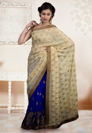 Diffusion Exquisite Beige And Blue Embroidered Saree