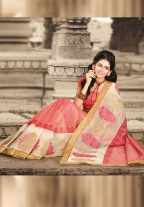 Diffusion Exquisite Beige And Red Embroidered Saree