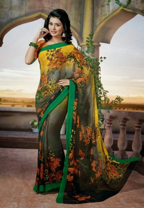 Diffusion Exquisite Black And Yellow Embroidered Saree