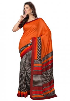Diffusion Exquisite Deep Orange And Gray Printed Saree