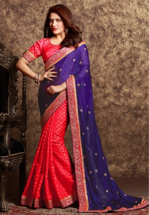 Diffusion Exquisite Deep Purple And Red Embroidered Saree