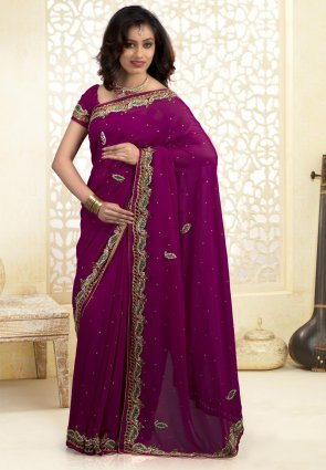 Diffusion Exquisite Eggplant Embroidered Saree