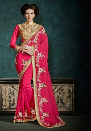 Diffusion Exquisite Fuchsia Embroidered Saree