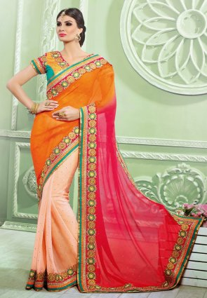 Diffusion Exquisite Fuchsia And Peach Puff Embroidered Saree