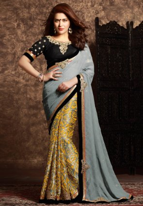 Diffusion Exquisite Gray And Yellow Embroidered Saree