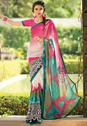 Diffusion Exquisite Off White And Sea Green Printed Saree