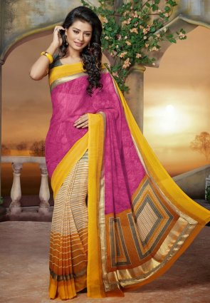Diffusion Exquisite Orange And Pink Embroidered Saree