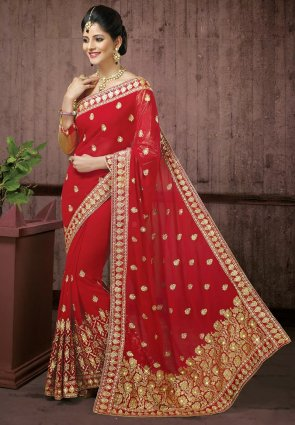 Diffusion Exquisite Red Embroidered Saree