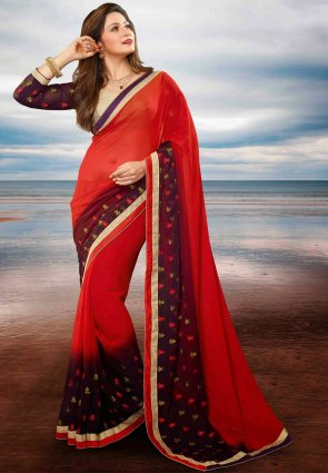 Diffusion Exquisite Red And Violet Embroidered Saree