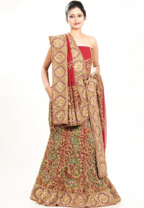 Diffusion Exquisite Red Chaniya Choli