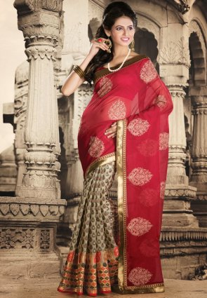 Diffusion Fancy Beige And Red Embroidered Saree