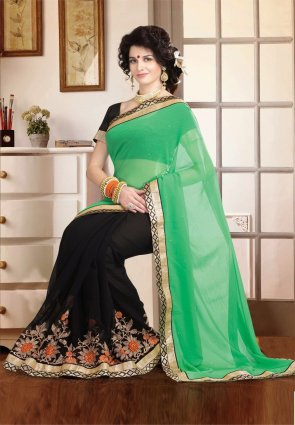 Diffusion Fancy Black And Green Embroidered Saree