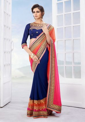 Diffusion Fancy Blue And Tomato Embroidered Saree