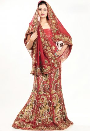 Diffusion Fancy Brick Red Chaniya Choli