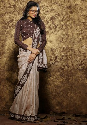Diffusion Fancy Brown Embroidered Saree