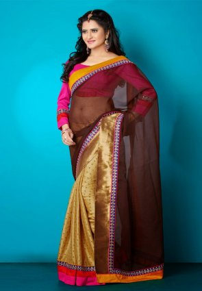 Diffusion Fancy Brown And Gold Color Embroidered Saree