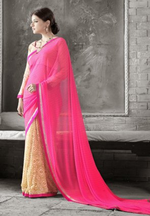 Diffusion Fancy Buttercream And Pink Embroidered Saree