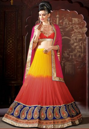 Diffusion Fancy Coral And Yellow Lehenga Choli
