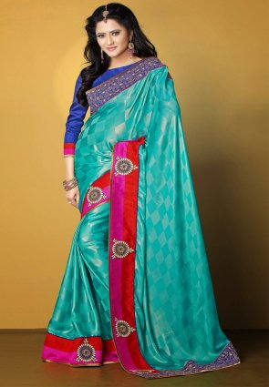 Diffusion Fancy Cyan Blue Embroidered Saree