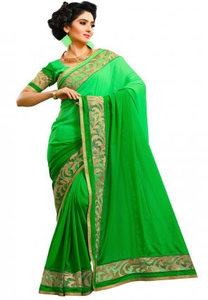 Diffusion Fancy Green Embroidered Saree
