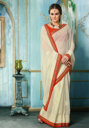 Diffusion Fancy Ivory Embroidered Saree