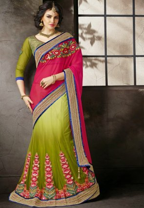 Diffusion Fancy Mehendi Green And Red Embroidered Saree