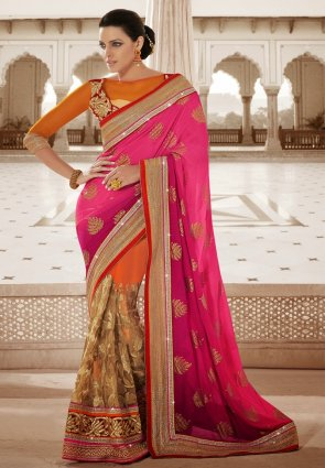 Diffusion Fancy Peach Puff  And  Pink Embroidered Saree