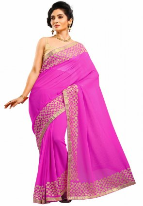 Diffusion Fancy Pink Embroidered Saree