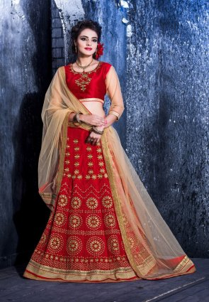 Diffusion Fancy Red Lehenga Choli