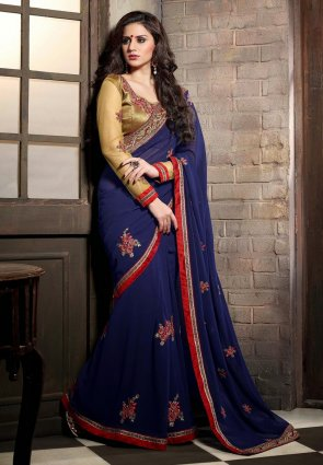 Diffusion Fancy Royal Blue Embroidered Saree