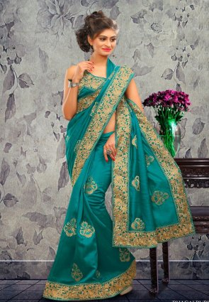 Diffusion Fancy Sea Green Embroidered Saree