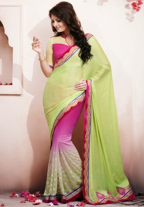 Diffusion Fascinating Aloe Vera Green And  Pink Embroidered Saree