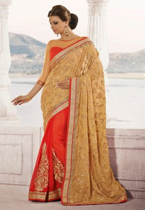 Diffusion Fascinating Beige  And  Deep Scarlet Red Embroidered Saree