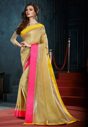 Diffusion Fascinating Beige Embroidered Saree