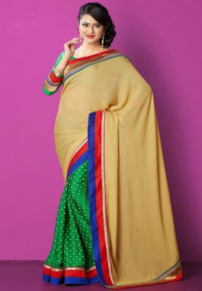 Diffusion Fascinating Beige And Green Embroidered Saree