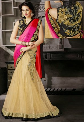 Diffusion Fascinating Beige And Pink Embroidered Saree