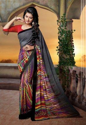 Diffusion Fascinating Black Embroidered Saree