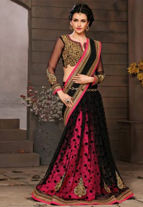 Diffusion Fascinating Black And Pink Embroidered Saree