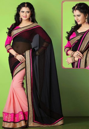 Diffusion Fascinating Black And Rose Pink Embroidered Saree