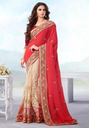 Diffusion Fascinating Buttercream And Red Embroidered Saree